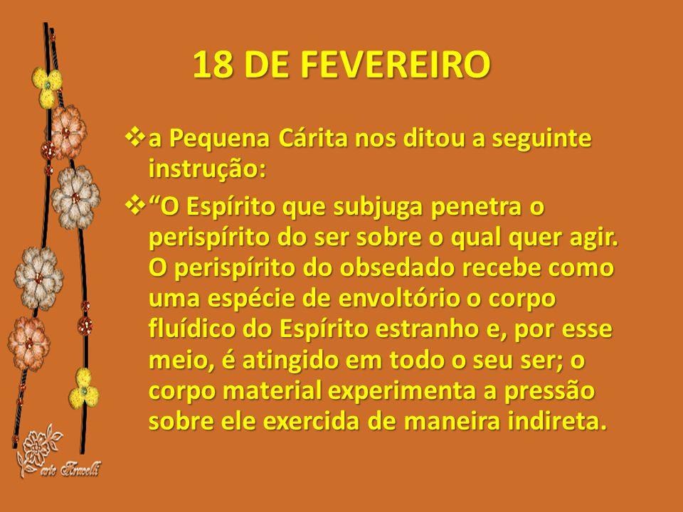 18 DE FEVEREIRO  a Pequena Cárita nos ditou a seguinte instrução:  O Espírito que subjuga penetra o perispírito do ser sobre o qual quer agir.