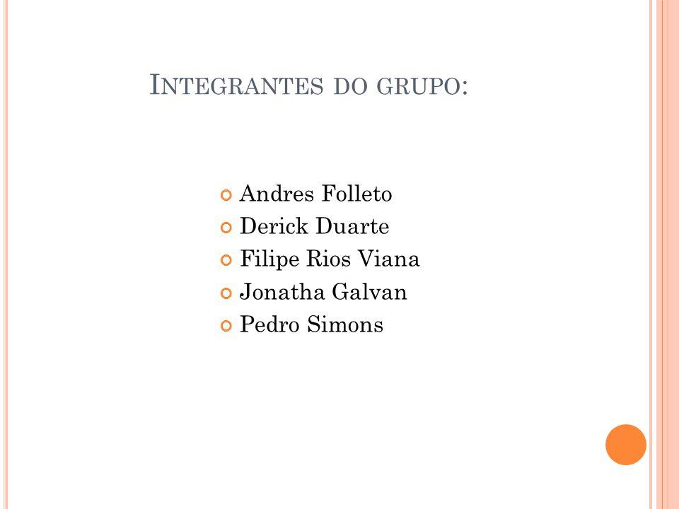I NTEGRANTES DO GRUPO : Andres Folleto Derick Duarte Filipe Rios Viana Jonatha Galvan Pedro Simons