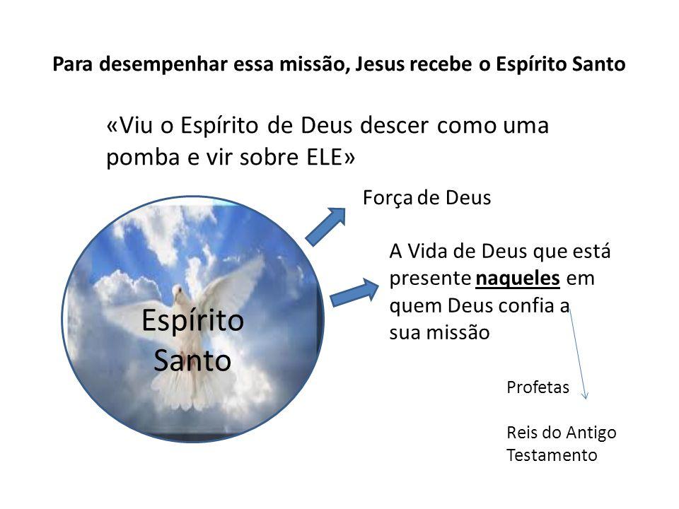 Para desempenhar essa missão, Jesus recebe o Espírito Santo «Viu o Espírito de Deus descer como uma pomba e vir sobre ELE» Espírito Santo Força de Deu
