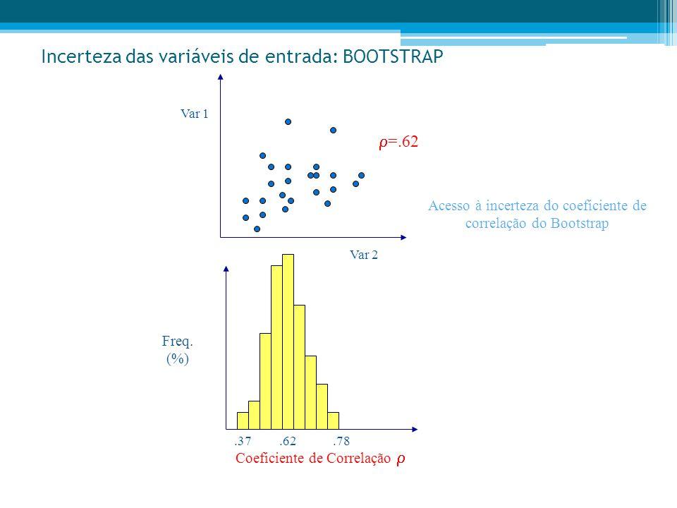 Incerteza das variáveis de entrada: BOOTSTRAP Var 1 Var 2  =.62 Freq. (%) Coeficiente de Correlação .37.78.62 Acesso à incerteza do coeficiente de c