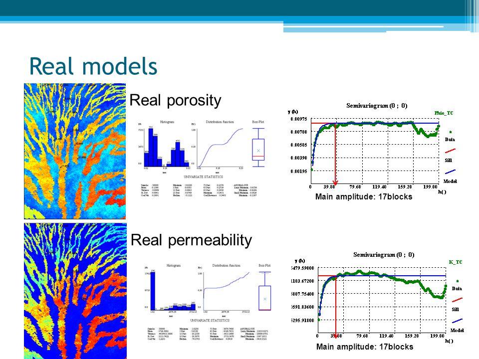 Real models Main amplitude: 17blocks Real porosity Real permeability Main amplitude: 17blocks