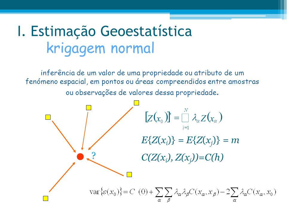 I. Estimação Geoestatística krigagem normal inferência de um valor de uma propriedade ou atributo de um fenómeno espacial, em pontos ou áreas compreen