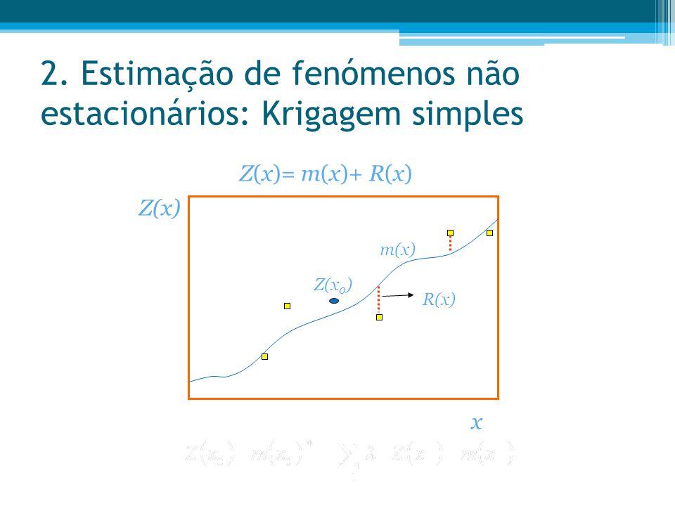 2. Estimação de fenómenos não estacionários: Krigagem simples Z(x)= m(x)+ R(x) x Z(x) R(x) m(x) Z(x 0 )