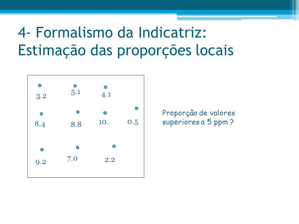 4- Formalismo da Indicatriz: Estimação das proporções locais 3.2 8.4 9.2 5.1 2.2 10. 7.0 4.1 8.8 0.5 Proporção de valores superiores a 5 ppm ?