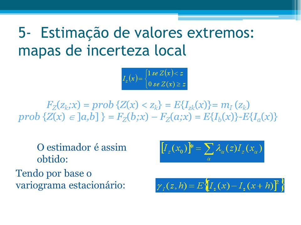 5- Estimação de valores extremos: mapas de incerteza local F Z (z k ;x) = prob {Z(x) < z k } = E{I zk (x)}= m I (z k ) prob {Z(x)  ]a,b] } = F Z (b;x
