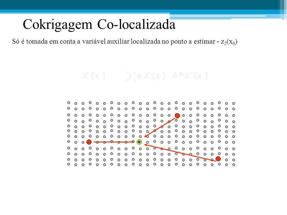 Cokrigagem Co-localizada Só é tomada em conta a variável auxiliar localizada no ponto a estimar - z 2 (x 0 )