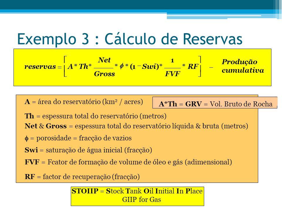 Exemplo 3 : Cálculo de Reservas reservasATh Net Gross Swi FVF RF Produção cumulativa          ****()**  1 1 STOIIP = Stock Tank Oil Initial