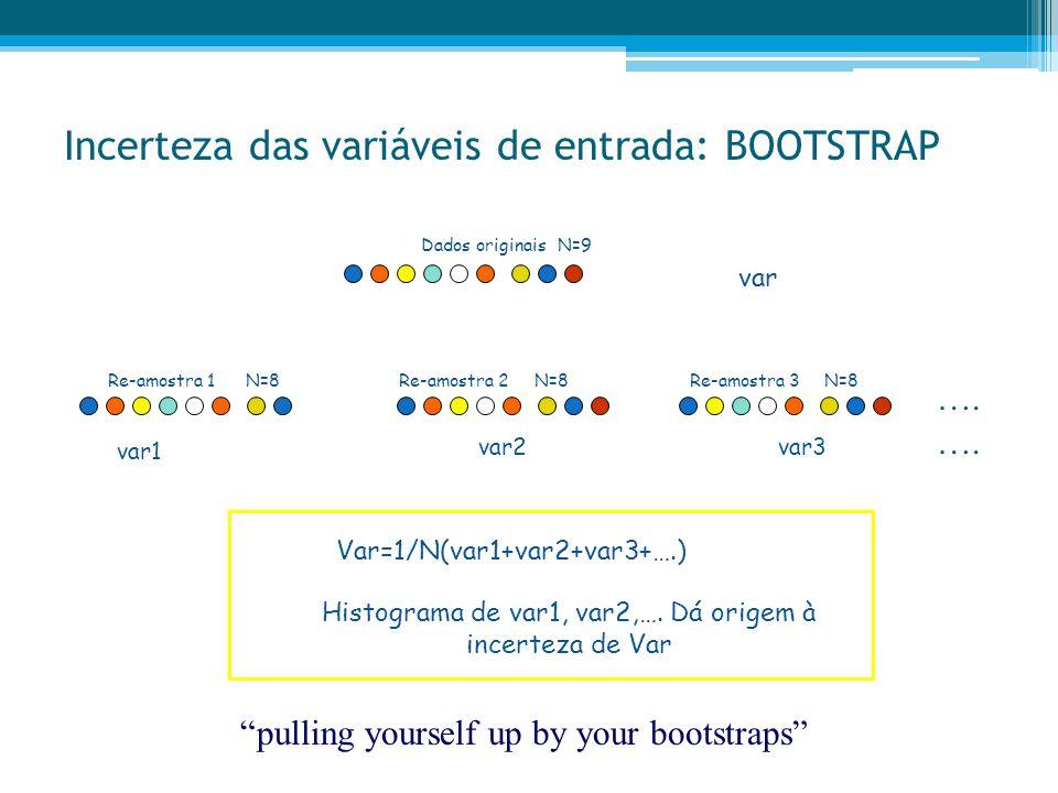 "Incerteza das variáveis de entrada: BOOTSTRAP ""pulling yourself up by your bootstraps"" …. var1 var2var3 …. var Var=1/N(var1+var2+var3+….) Histograma d"
