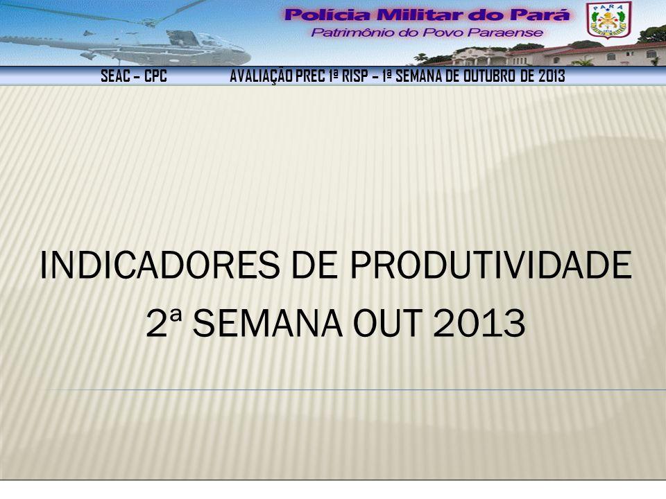 SEAC – CPC AVALIAÇÃO PREC 1ª RISP – 1ª SEMANA DE OUTUBRO DE 2013 INDICADORES DE PRODUTIVIDADE 2ª SEMANA OUT 2013