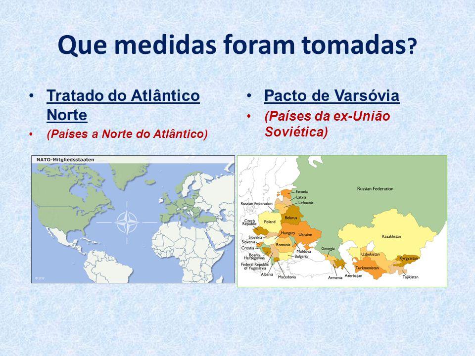 Que medidas foram tomadas ? •Tratado do Atlântico Norte •(Países a Norte do Atlântico) •Pacto de Varsóvia •(Países da ex-União Soviética)