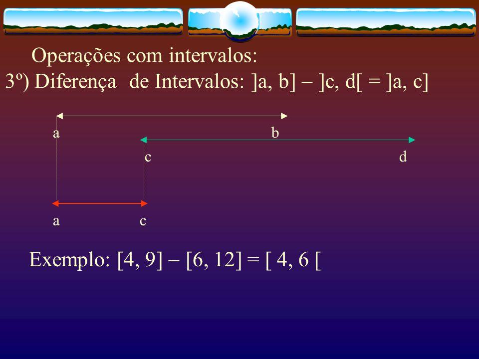 Operações com intervalos: 2º) Intersecção de Intervalos: ]a, b[  ]c, d[ = ]c, b[ a b c d c b 4 6 9 12 Exemplo: [4, 9]  [6, 12] = [ 6, 9 ]