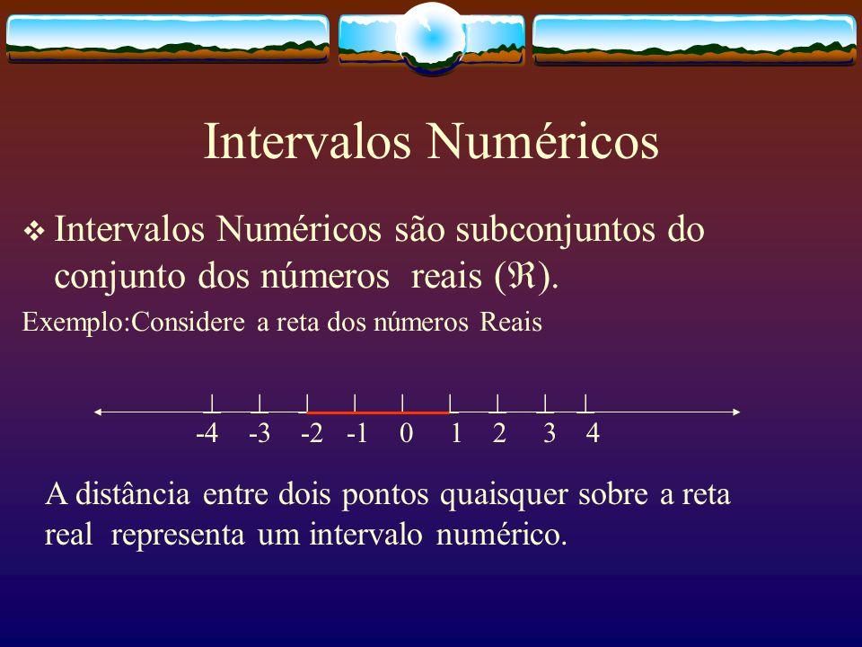 Resposta:  Todas as afirmações nos dão a idéia subjetiva de intervalo. A partir delas vamos estudar Intervalos Numéricos, os quais serão estudados no