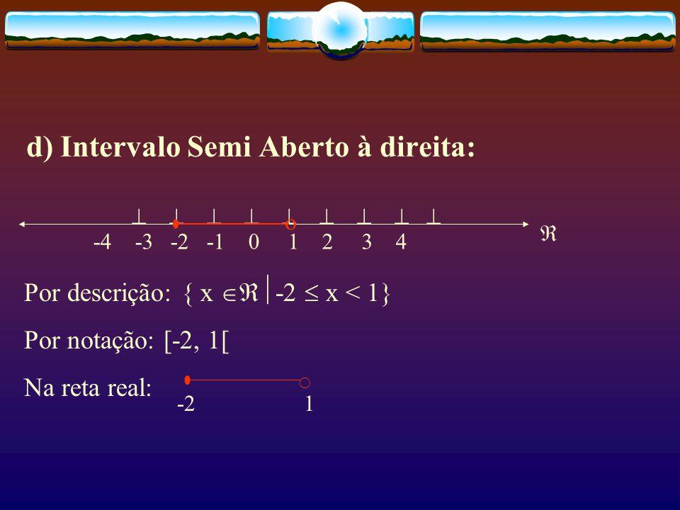 c) Intervalo Semi Aberto à esquerda:          -4 -3 -2 -1 0 1 2 3 4 Por descrição: { x  -2 < x  1} Por notação: ]-2, 1] Na reta real: -2