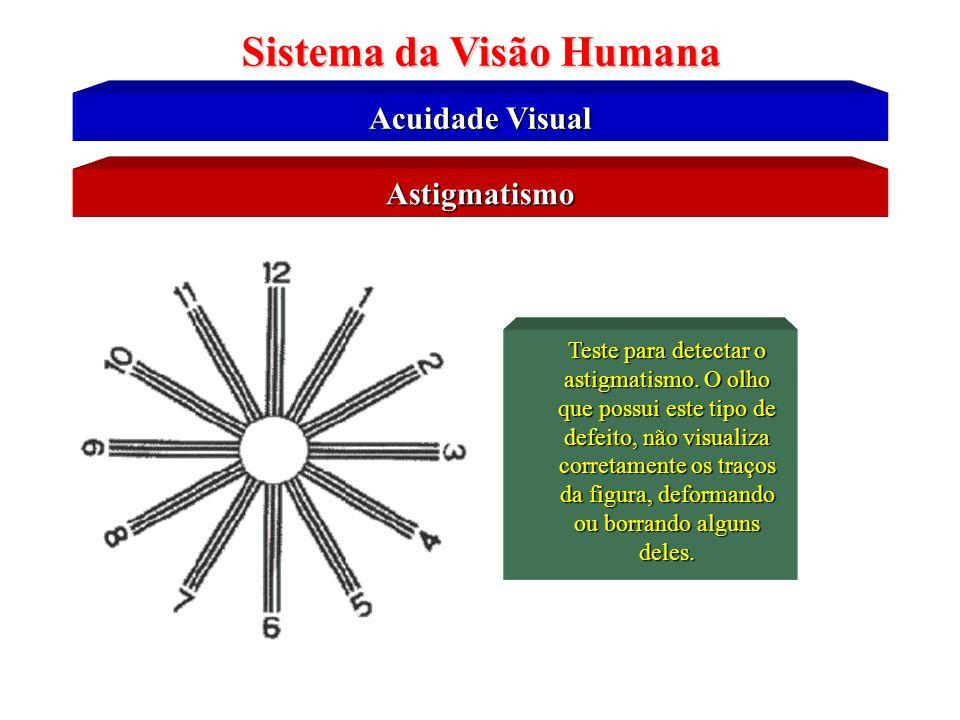 Astigmatismo Lente cilíndricas ou toroidal Sistema da Visão Humana O Astigmatismo é uma deficiência visual provocada em pessoas que apresentam um form