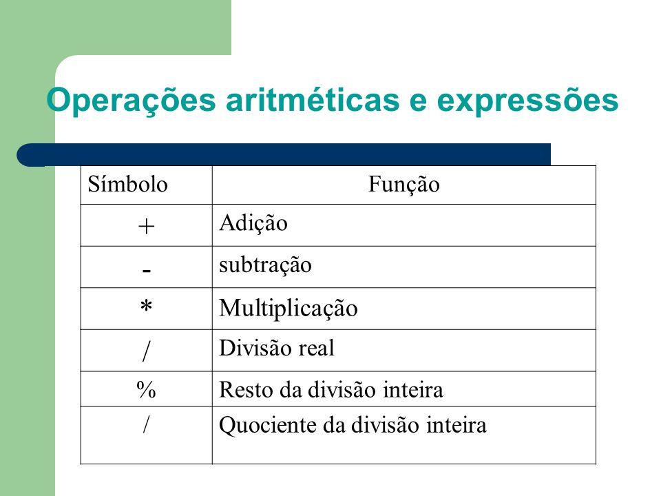 Operações aritméticas e expressões SímboloFunção + Adição - subtração * Multiplicação / Divisão real %Resto da divisão inteira /Quociente da divisão i