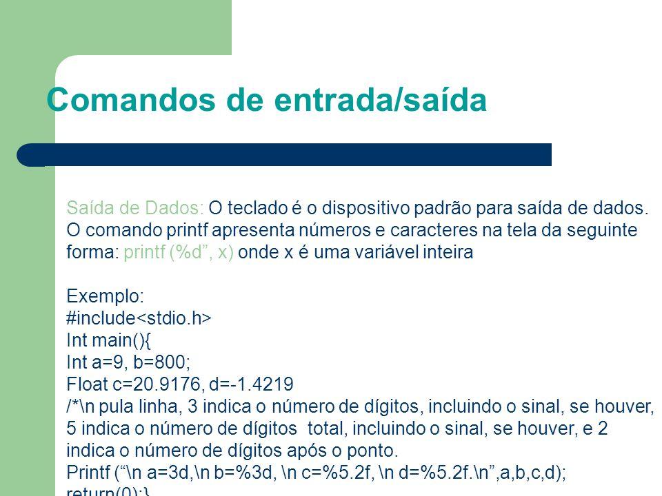 Comandos de entrada/saída Saída de Dados: O teclado é o dispositivo padrão para saída de dados. O comando printf apresenta números e caracteres na tel