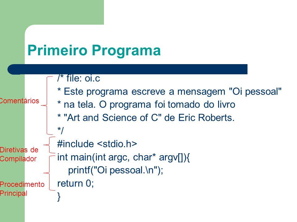 Primeiro Programa Comentários • Texto ignorado pelo compilador • Documentação útil para descrever trechos do algoritmo • Possível em qualquer posição do código fonte • Duas formas para comentários: - Uma linha: // Comentário...