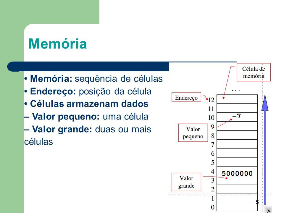 Memória • Memória: sequência de células • Endereço: posição da célula • Células armazenam dados – Valor pequeno: uma célula – Valor grande: duas ou ma