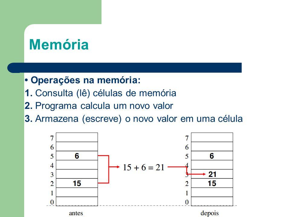 Memória • Operações na memória: 1. Consulta (lê) células de memória 2. Programa calcula um novo valor 3. Armazena (escreve) o novo valor em uma célula