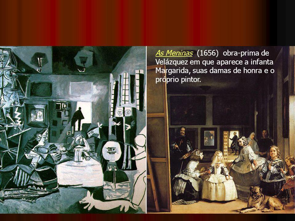 As MeninasAs Meninas (1656) obra-prima de Velázquez em que aparece a infanta Margarida, suas damas de honra e o próprio pintor.