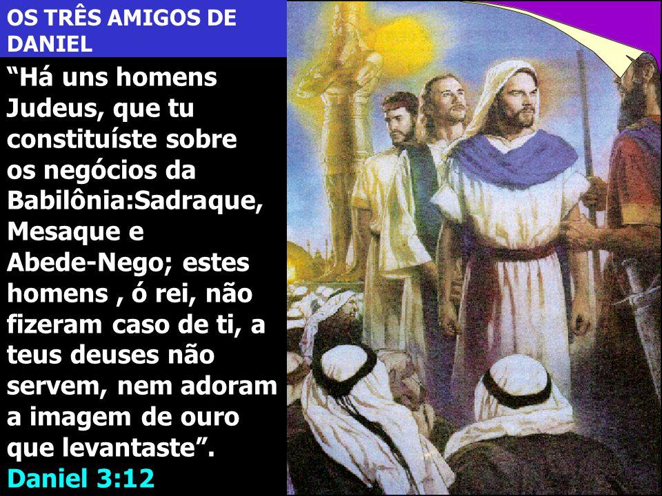 """OS TRÊS AMIGOS DE DANIEL """"Há uns homens Judeus, que tu constituíste sobre os negócios da Babilônia:Sadraque, Mesaque e Abede-Nego; estes homens, ó rei"""