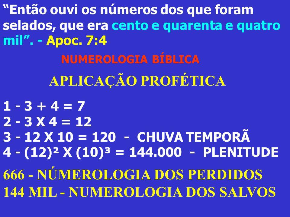 """""""Então ouvi os números dos que foram selados, que era cento e quarenta e quatro mil"""". - Apoc. 7:4 NUMEROLOGIA BÍBLICA APLICAÇÃO PROFÉTICA 1 - 3 + 4 ="""