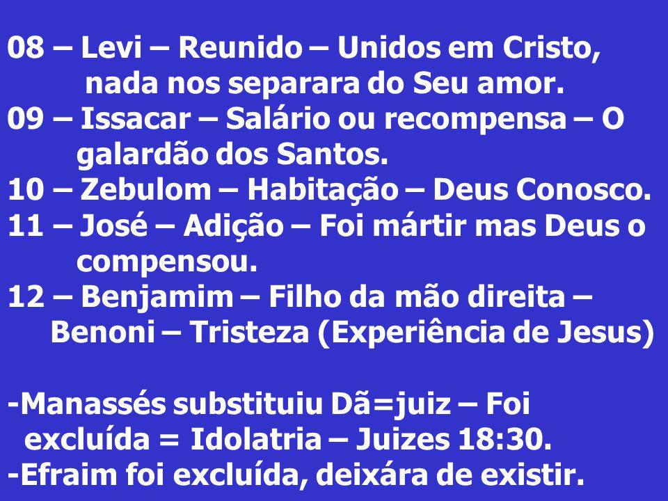 08 – Levi – Reunido – Unidos em Cristo, nada nos separara do Seu amor. 09 – Issacar – Salário ou recompensa – O galardão dos Santos. 10 – Zebulom – Ha
