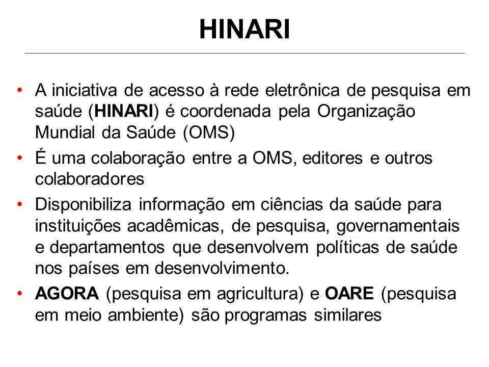 HOA - endereços eletrônicos - URL HINARI: Saúde http://www.who.int/hinari/en/ http://www.who.int/hinari/en/ AGORA: agricultura http://www.aginternetwork.org/en/ http://www.aginternetwork.org/en/ OARE: meio-ambiente http://www.oaresciences.org/en/ http://www.oaresciences.org/en/