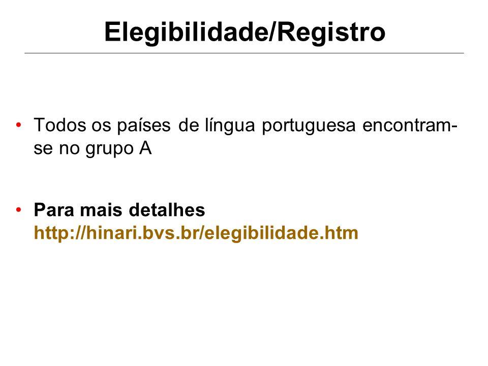 Elegibilidade/Registro •Todos os países de língua portuguesa encontram- se no grupo A •Para mais detalhes http://hinari.bvs.br/elegibilidade.htm