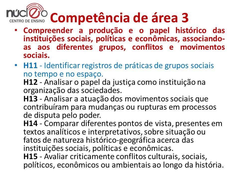 Competência de área 3 • Compreender a produção e o papel histórico das instituições sociais, políticas e econômicas, associando- as aos diferentes grupos, conflitos e movimentos sociais.