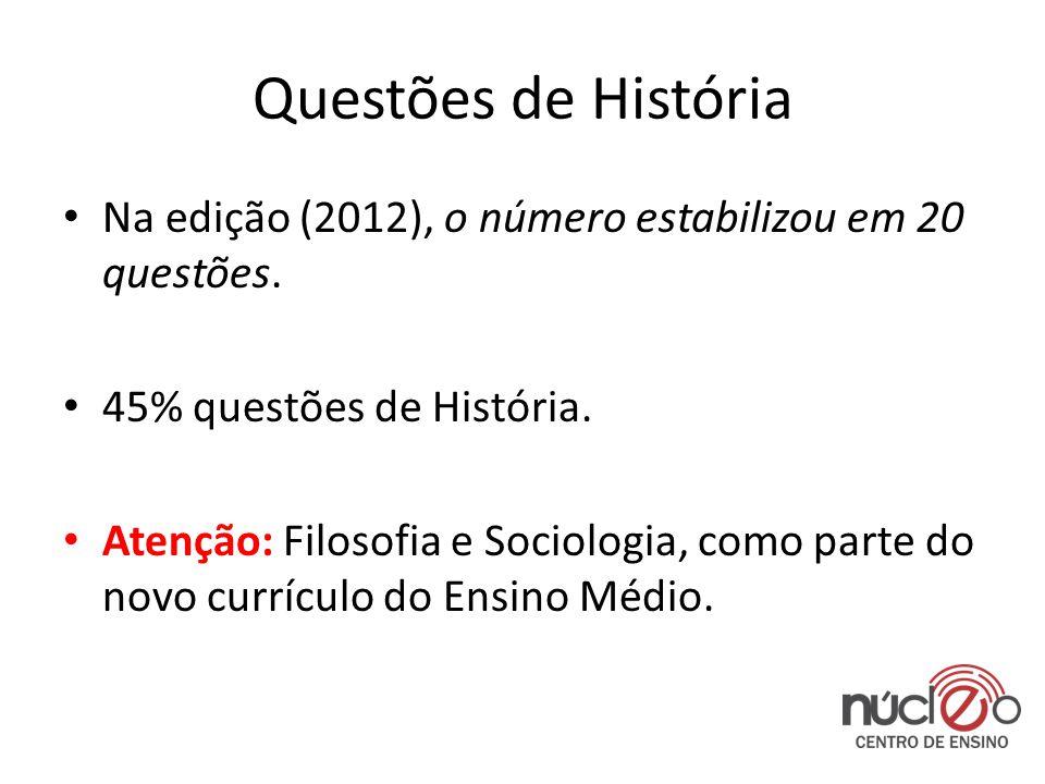 Questões de História • Na edição (2012), o número estabilizou em 20 questões.