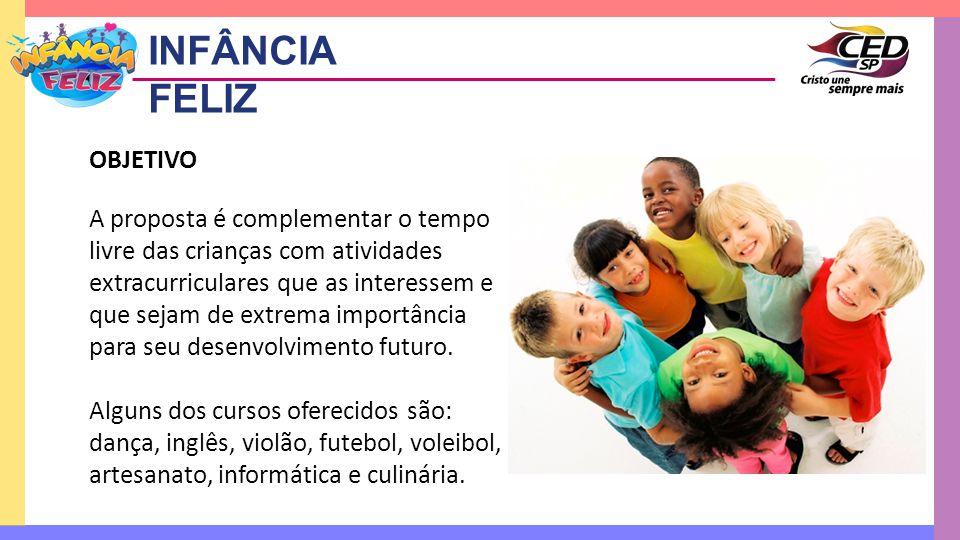 OBJETIVO A proposta é complementar o tempo livre das crianças com atividades extracurriculares que as interessem e que sejam de extrema importância pa