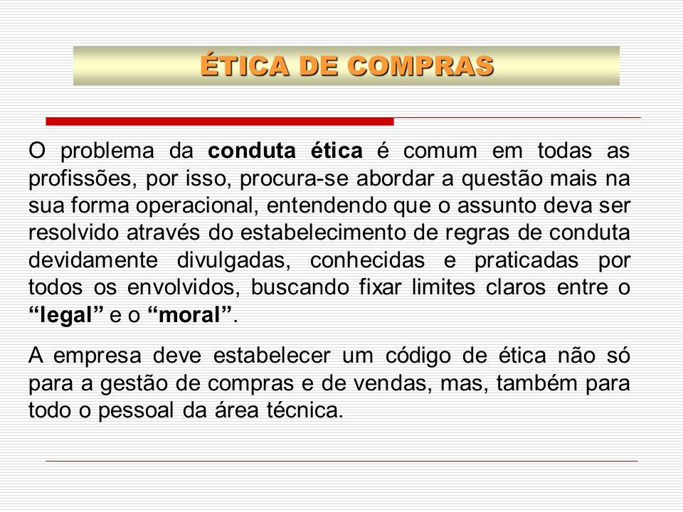 ÉTICA DE COMPRAS O problema da conduta ética é comum em todas as profissões, por isso, procura-se abordar a questão mais na sua forma operacional, ent