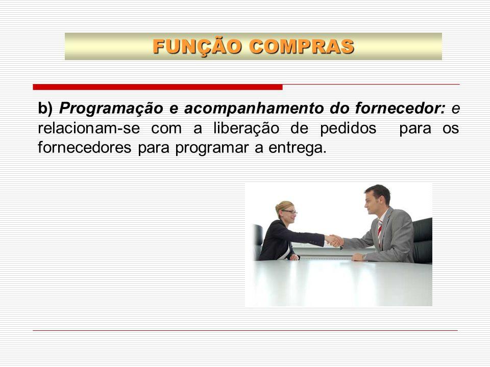 b) Programação e acompanhamento do fornecedor: e relacionam-se com a liberação de pedidos para os fornecedores para programar a entrega. FUNÇÃO COMPRA