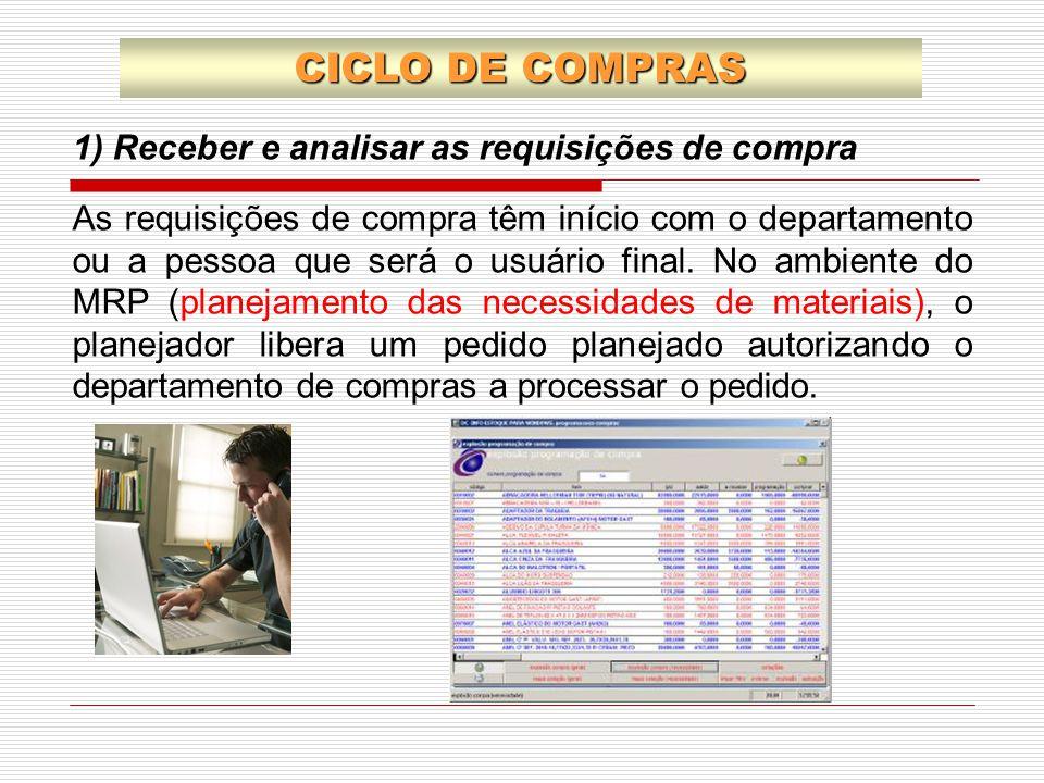 1) Receber e analisar as requisições de compra As requisições de compra têm início com o departamento ou a pessoa que será o usuário final. No ambient