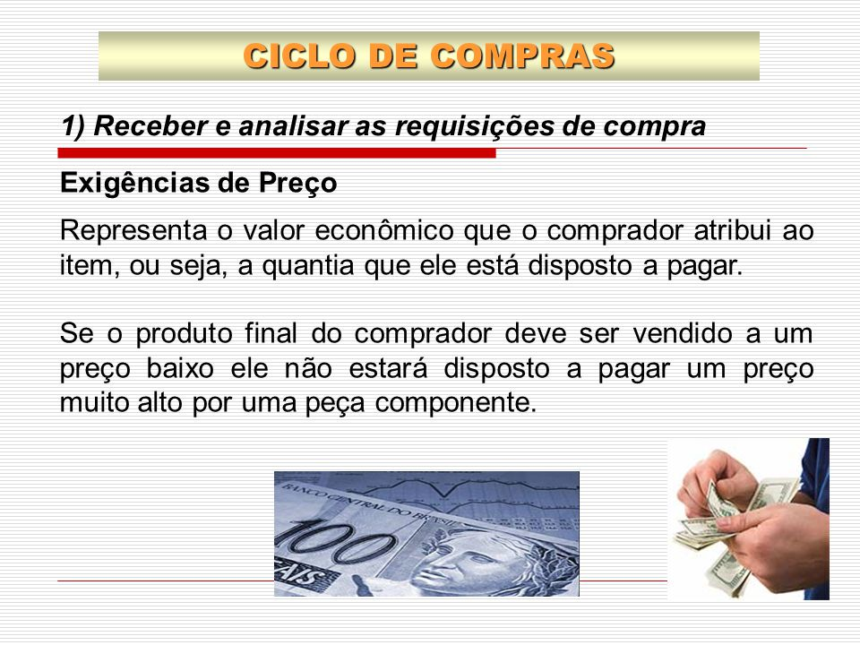1) Receber e analisar as requisições de compra CICLO DE COMPRAS Exigências de Preço Representa o valor econômico que o comprador atribui ao item, ou s