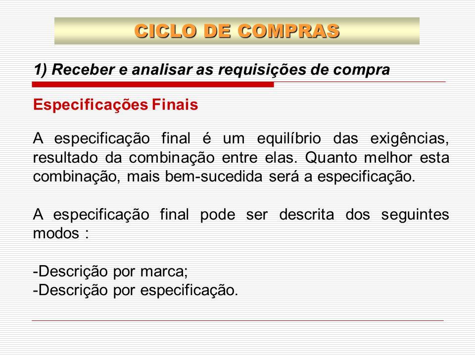 1) Receber e analisar as requisições de compra CICLO DE COMPRAS A especificação final é um equilíbrio das exigências, resultado da combinação entre el