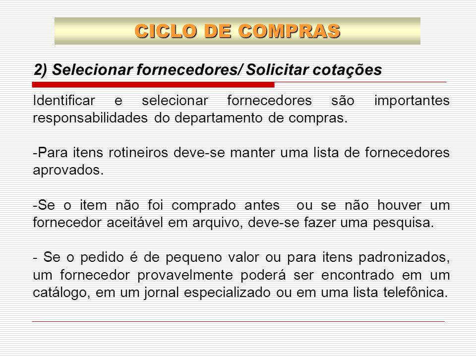 2) Selecionar fornecedores/ Solicitar cotações CICLO DE COMPRAS Identificar e selecionar fornecedores são importantes responsabilidades do departament