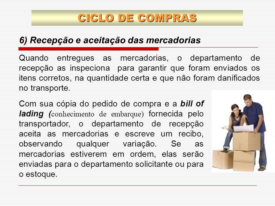 CICLO DE COMPRAS Quando entregues as mercadorias, o departamento de recepção as inspeciona para garantir que foram enviados os itens corretos, na quan