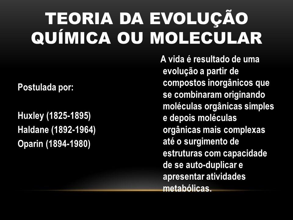 TEORIA DA EVOLUÇÃO QUÍMICA OU MOLECULAR Postulada por: Huxley (1825-1895) Haldane (1892-1964) Oparin (1894-1980) A vida é resultado de uma evolução a