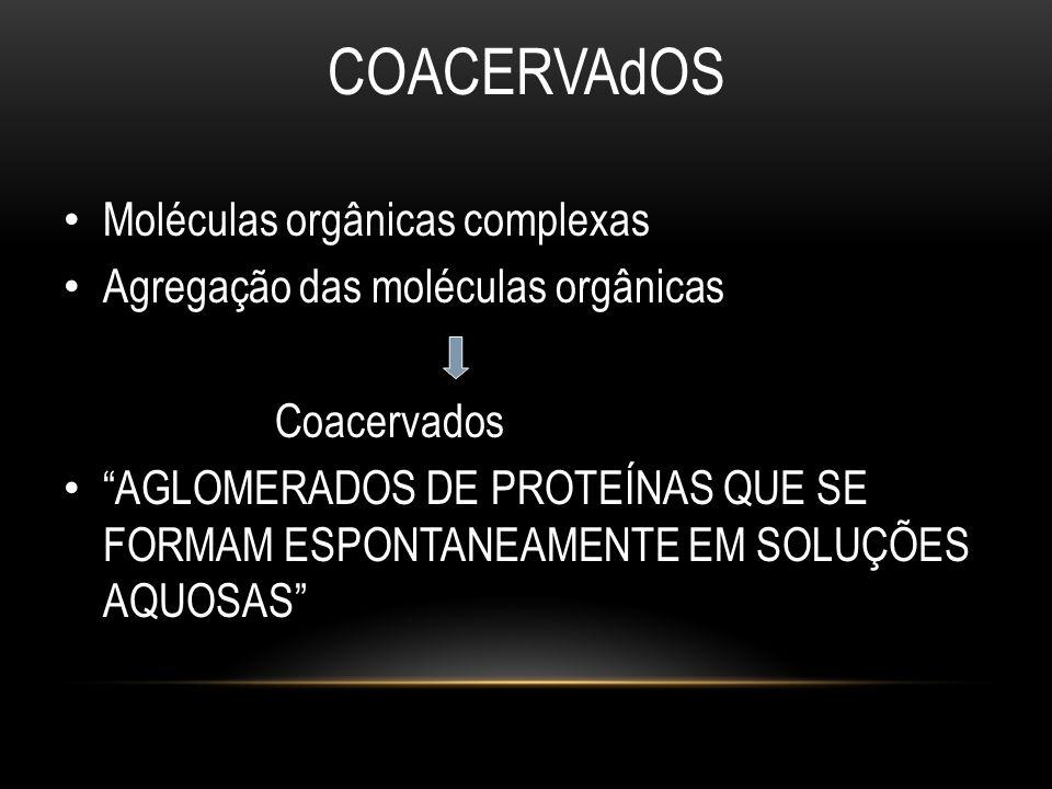 """COACERVAdOS • Moléculas orgânicas complexas • Agregação das moléculas orgânicas Coacervados • """"AGLOMERADOS DE PROTEÍNAS QUE SE FORMAM ESPONTANEAMENTE"""