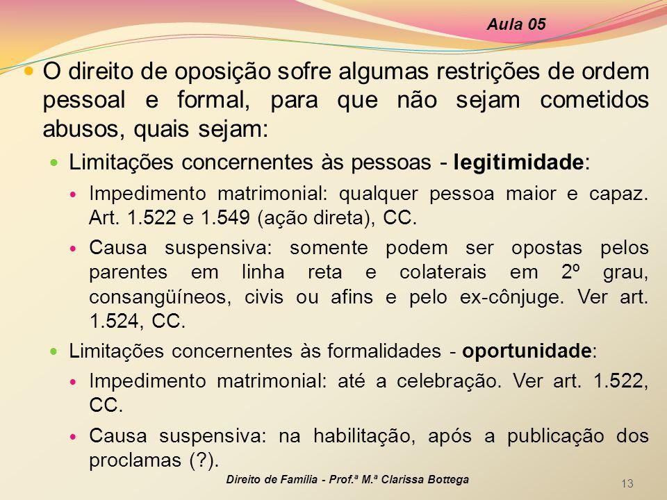  O direito de oposição sofre algumas restrições de ordem pessoal e formal, para que não sejam cometidos abusos, quais sejam:  Limitações concernente