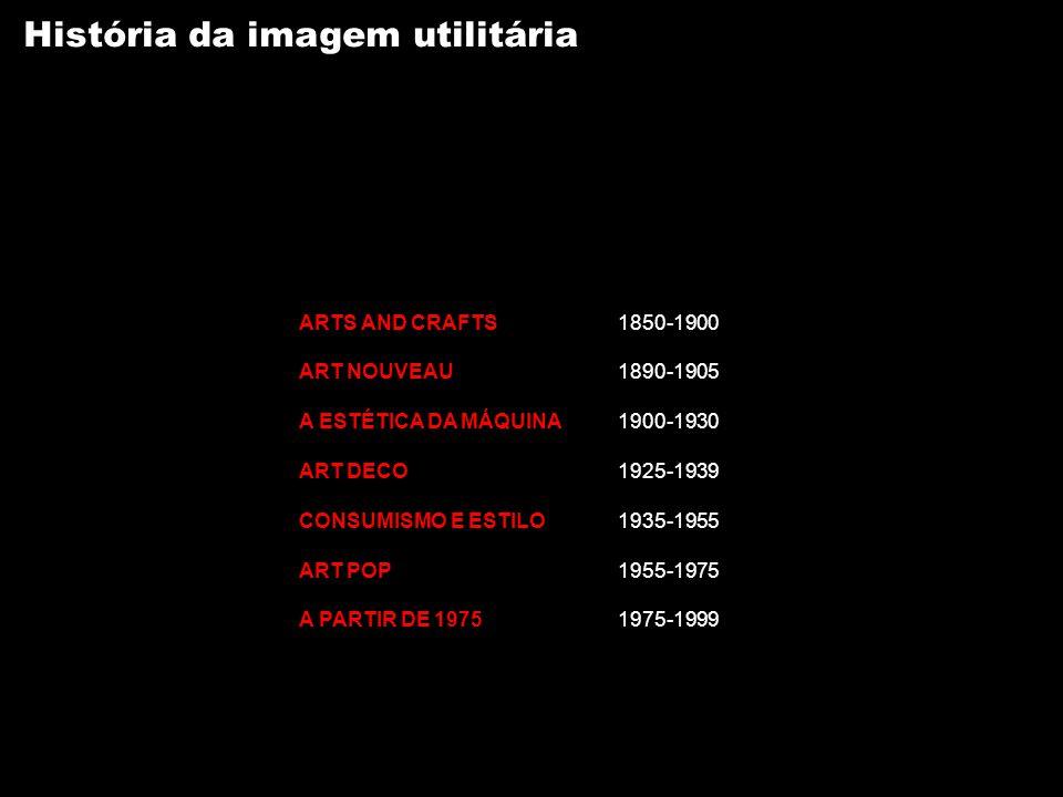 História da imagem utilitária ARTS AND CRAFTS1850-1900 ART NOUVEAU1890-1905 A ESTÉTICA DA MÁQUINA1900-1930 ART DECO1925-1939 CONSUMISMO E ESTILO1935-1