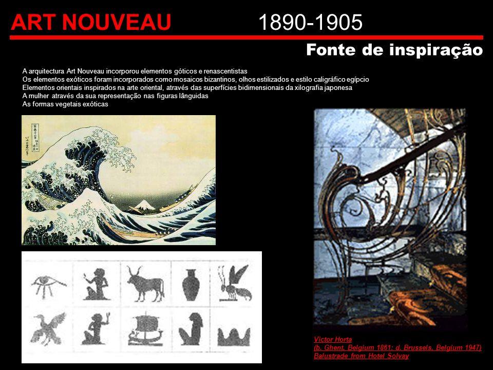 ART NOUVEAU1890-1905 A arquitectura Art Nouveau incorporou elementos góticos e renascentistas Os elementos exóticos foram incorporados como mosaicos b