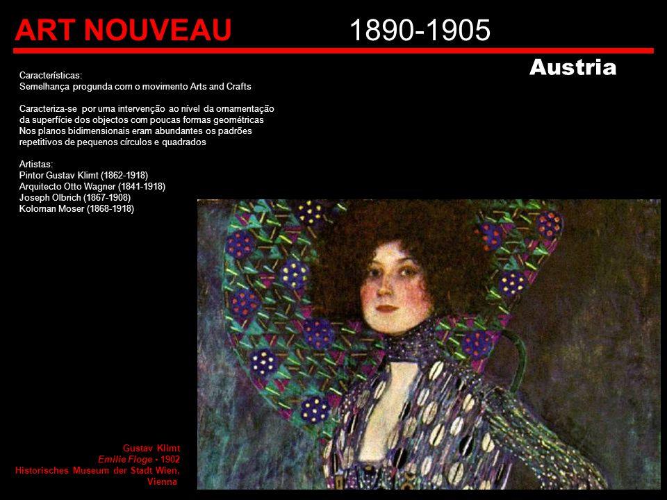ART NOUVEAU1890-1905 Características: Semelhança progunda com o movimento Arts and Crafts Caracteriza-se por uma intervenção ao nível da ornamentação
