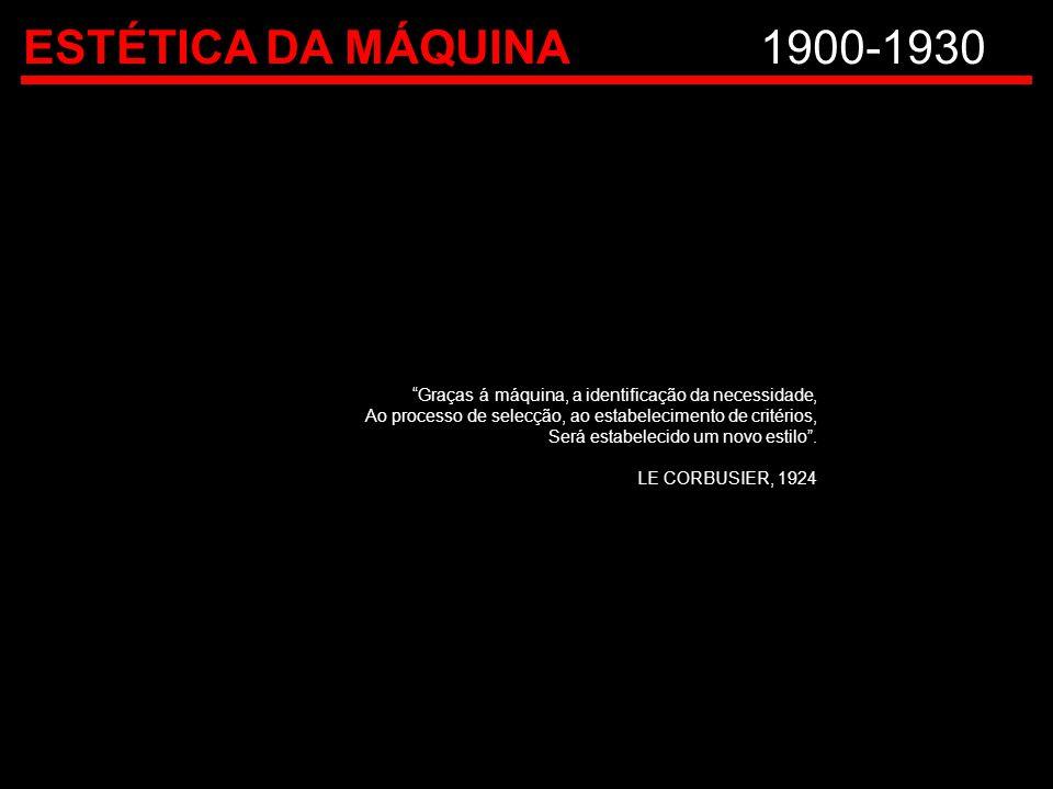 """ESTÉTICA DA MÁQUINA1900-1930 """"Graças á máquina, a identificação da necessidade, Ao processo de selecção, ao estabelecimento de critérios, Será estabel"""