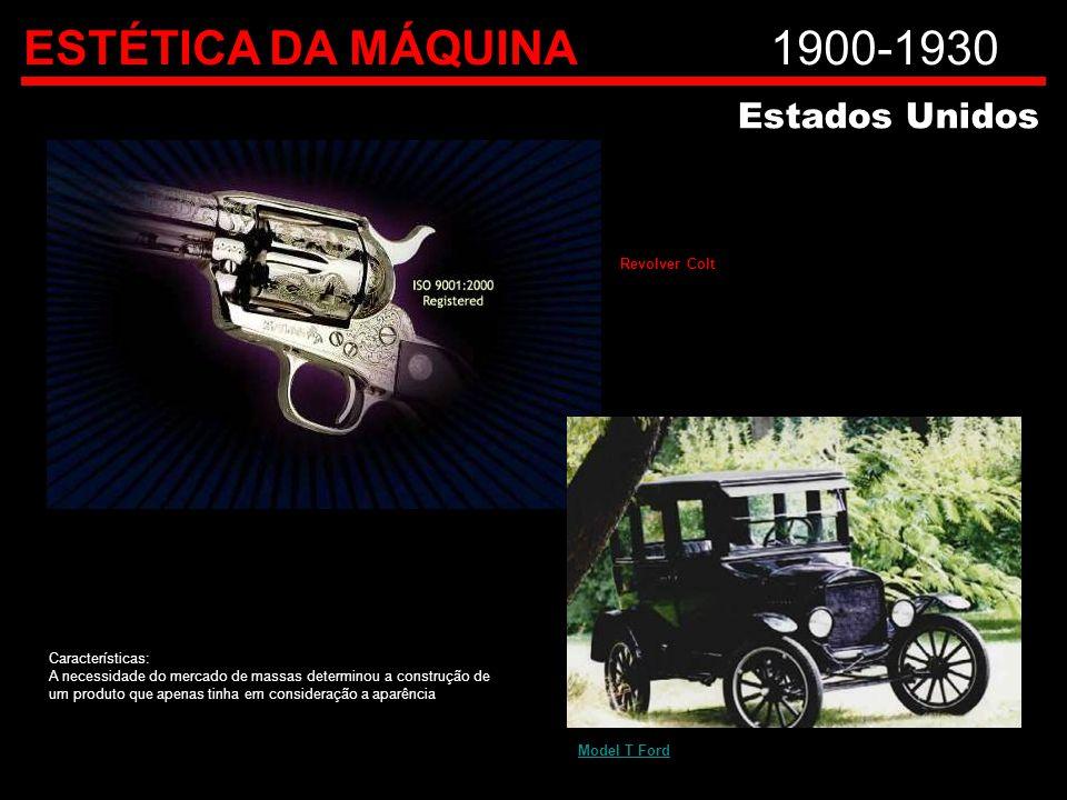 ESTÉTICA DA MÁQUINA1900-1930 Estados Unidos Revolver Colt Model T Ford Características: A necessidade do mercado de massas determinou a construção de