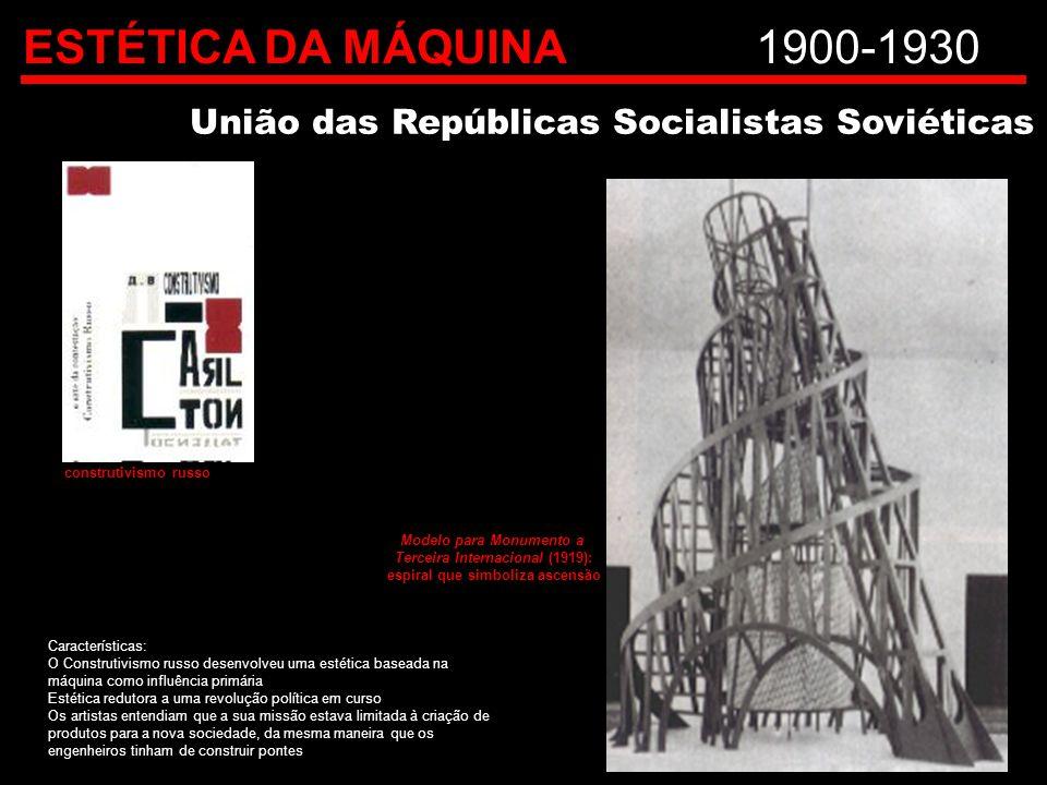ESTÉTICA DA MÁQUINA1900-1930 União das Repúblicas Socialistas Soviéticas Características: O Construtivismo russo desenvolveu uma estética baseada na m