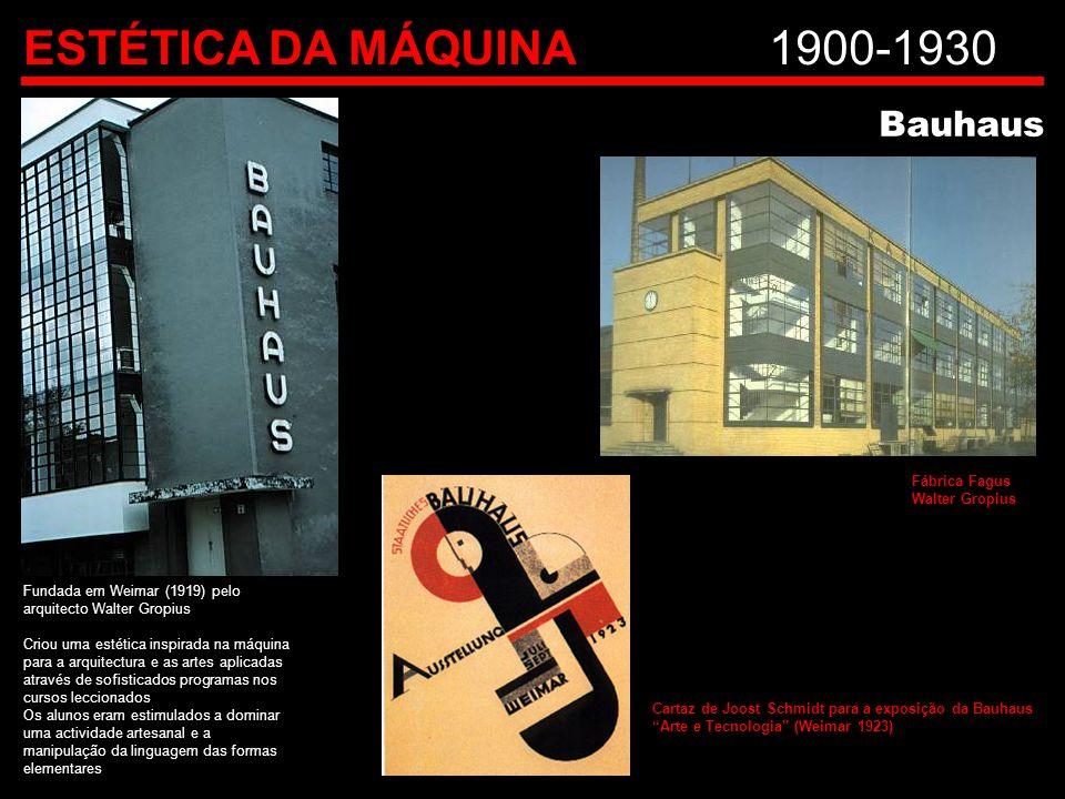 ESTÉTICA DA MÁQUINA1900-1930 Bauhaus Fundada em Weimar (1919) pelo arquitecto Walter Gropius Criou uma estética inspirada na máquina para a arquitectu