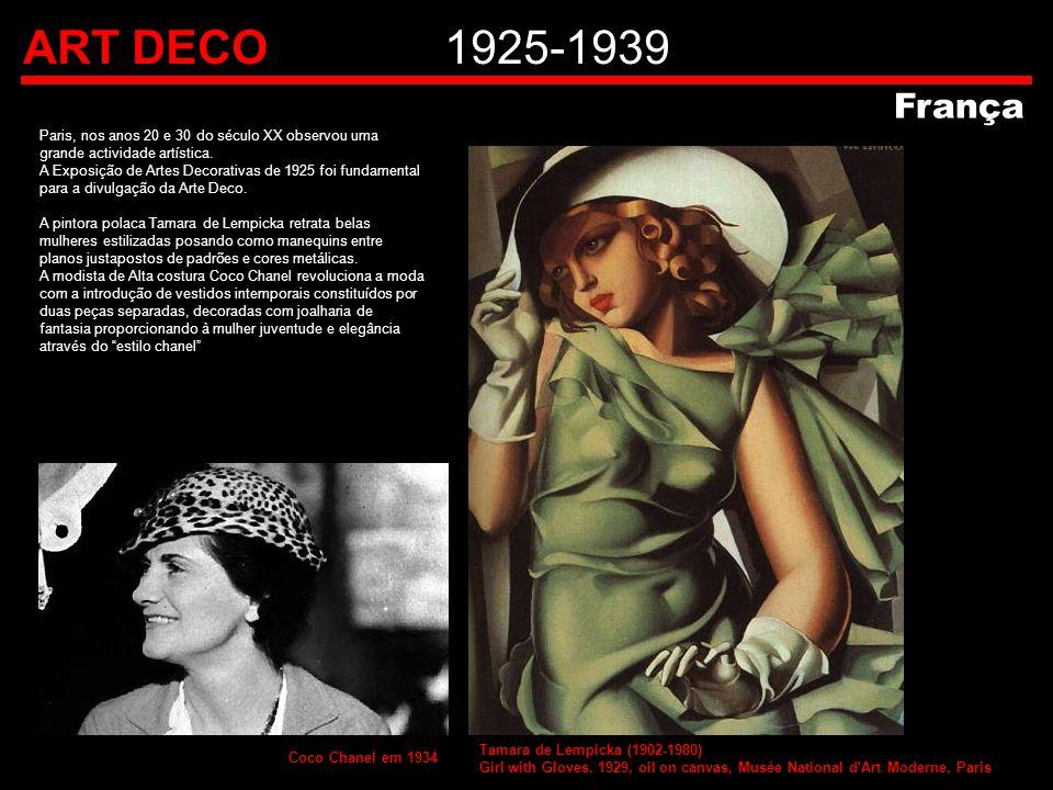 ART DECO1925-1939 França Paris, nos anos 20 e 30 do século XX observou uma grande actividade artística. A Exposição de Artes Decorativas de 1925 foi f